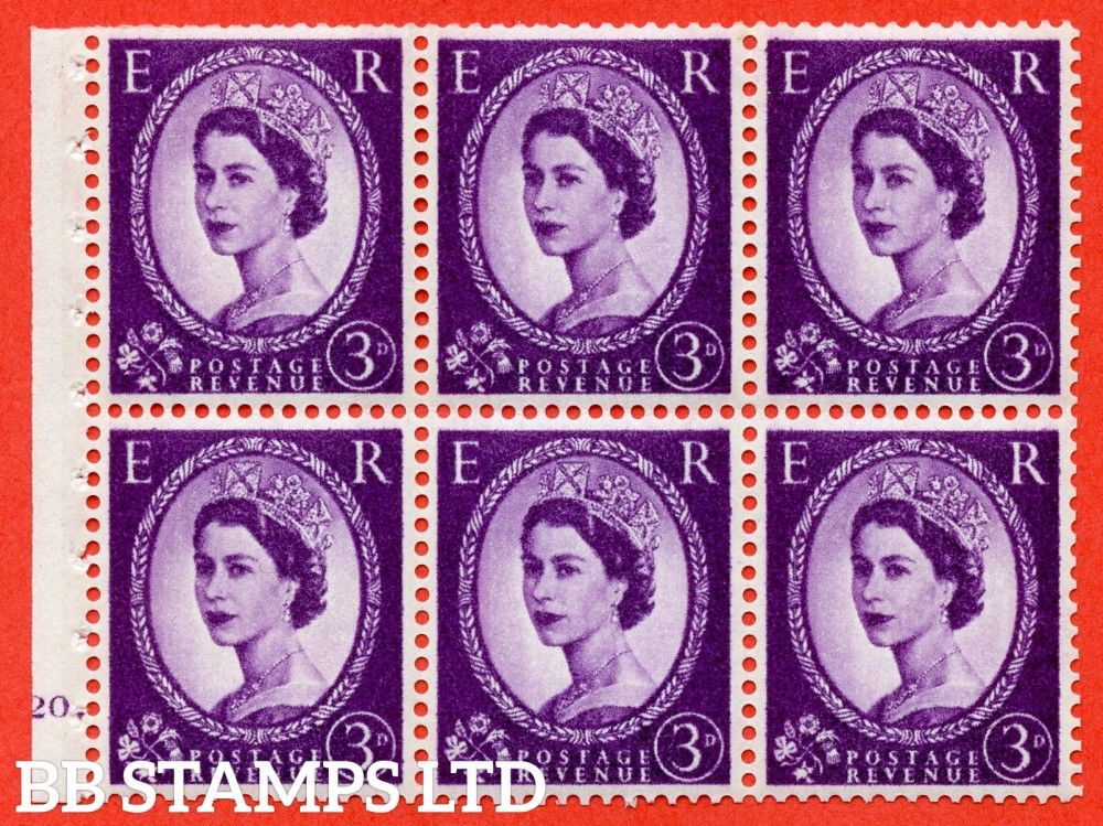 "SG. 615. SB100. 3d Deep Lilac. A fine UNMOUNTED MINT cylinder "" K20 dot "" booklet pane of 6. Perf type (Iet) with TRIMMED PERFS. Smooth edge. White Paper."