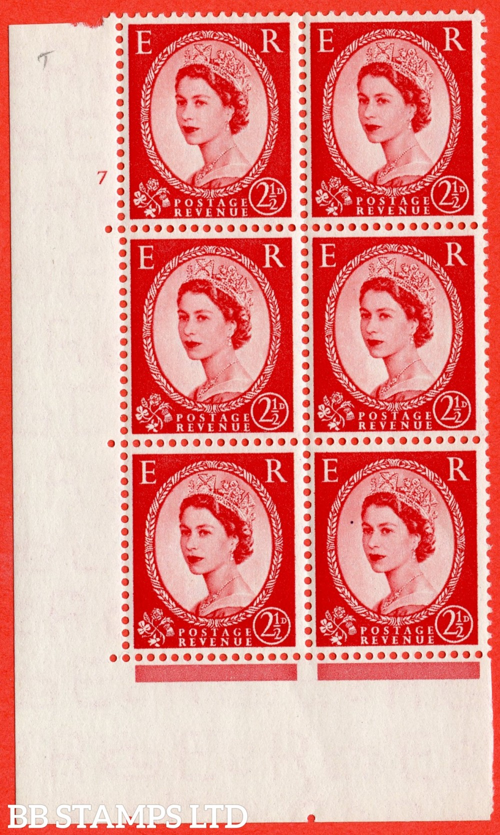 "SG. 519. S50. 2½d Carmine Red. A fine mounted mint "" cylinder 7 no dot "" control block of 6 with perf type A E/I."