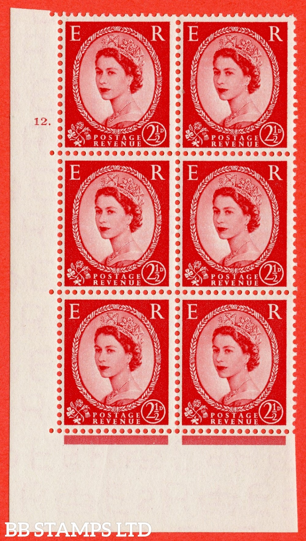 "SG. 519. S50. 2½d Carmine Red. A superb UNMOUNTED MINT "" cylinder 12 dot "" control block of 6 with perf type A E/I."