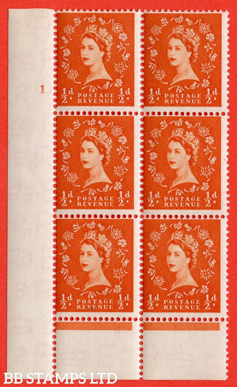 """SG. 515. S1. ½d Orange-Red. A superb UNMOUNTED MINT. """" cylinder 1 no dot """" control block of 6 with perf type B I/P."""