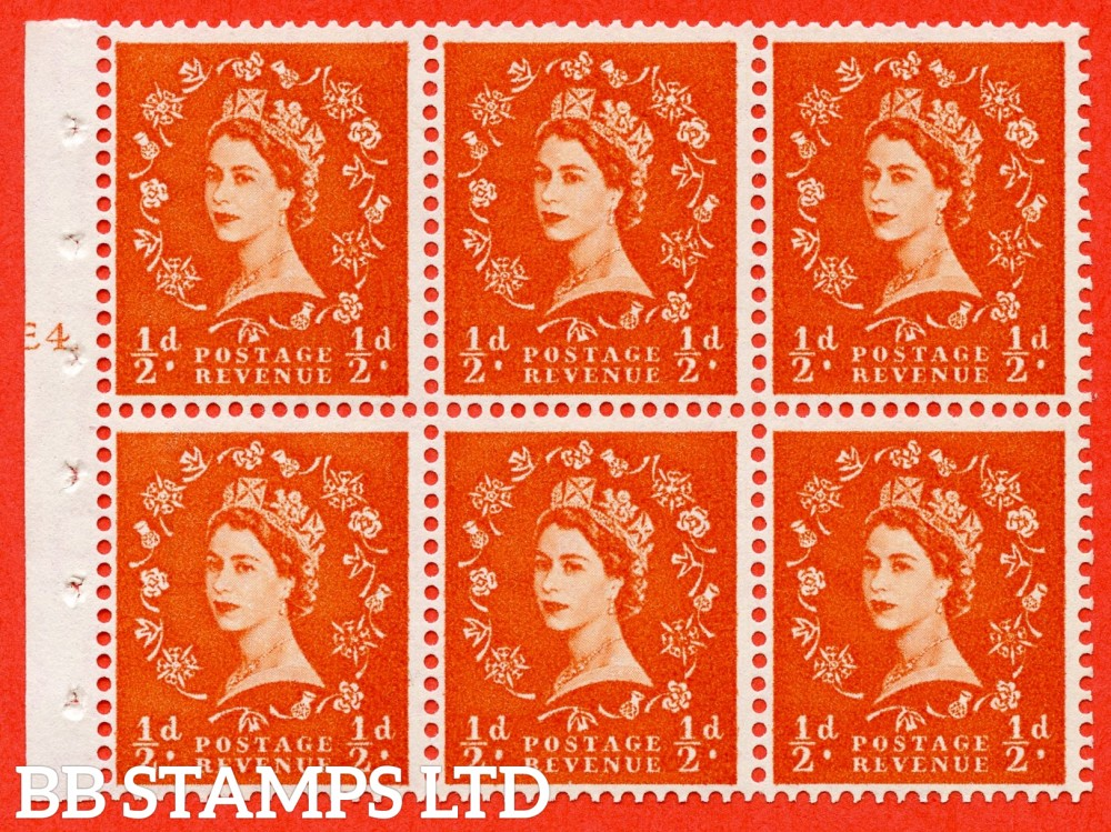 "SG. 540. SB4. ½d orange - red. A fine UNMOUNTED MINT cylinder "" E4 T no dot "" booklet pane of 6. Perf type (I) with GOOD PERFS. Smooth edge. Erroneous dot variety."