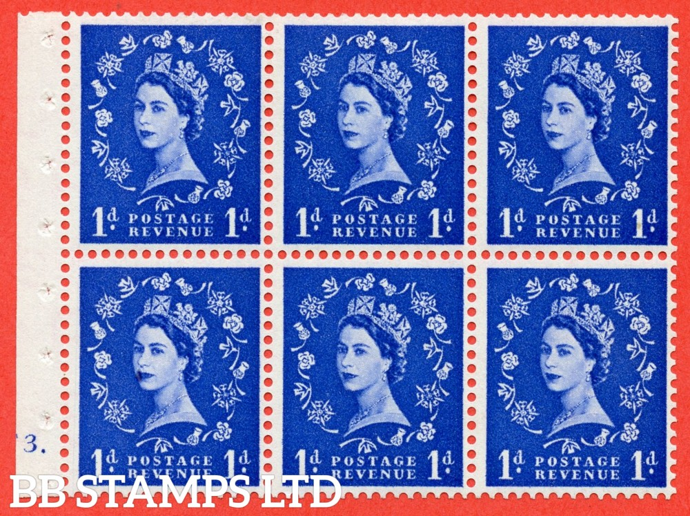 "SG. 541. SB26. 1d ultramarine. A fine mounted mint cylinder "" F3 dot "" booklet pane of 6. Perf type (Iet) with TRIMMED PERFS. Smooth edge."
