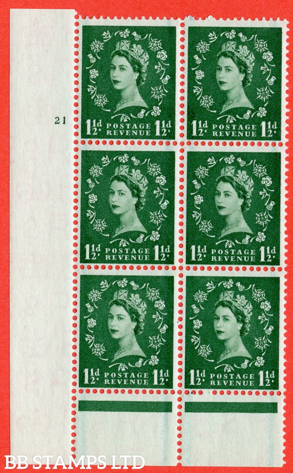 "SG. 563. S27. 1½d Green. A superb UNMOUNTED MINT "" cylinder 21 no dot "" control block of 6 with perf type B I/P."