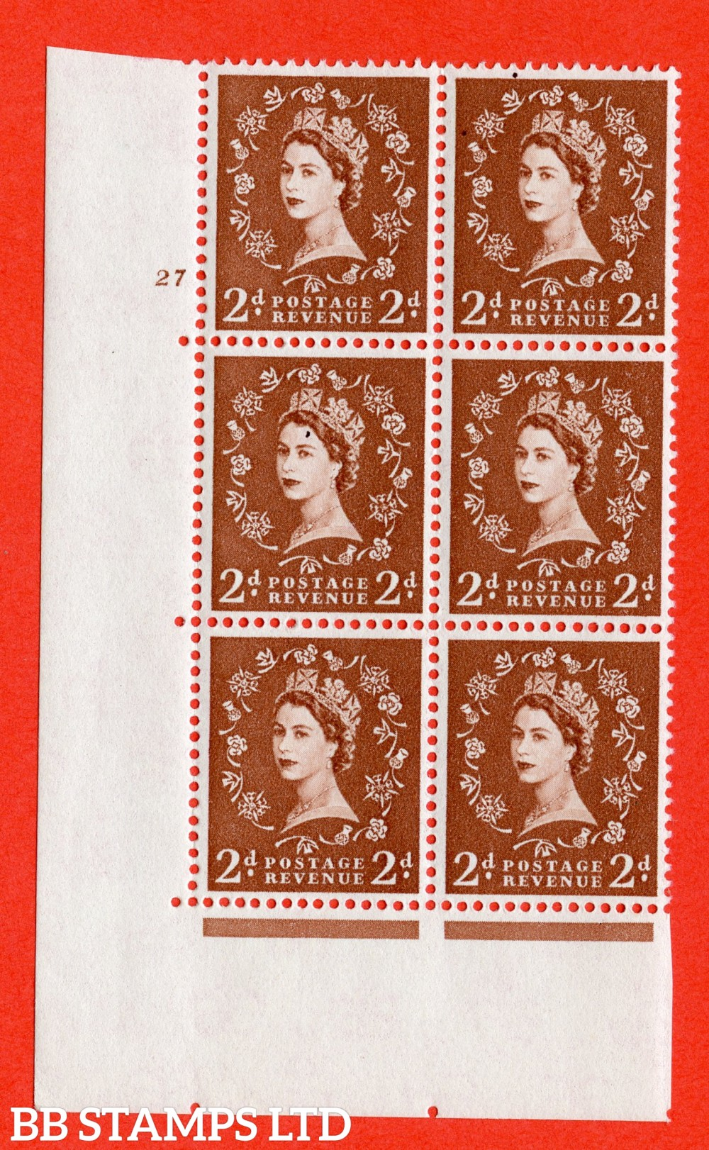 "SG. 573. S41. 2d Red - Brown. A superb UNMOUNTED MINT "" cylinder 27 no dot "" control block of 6 with perf type A E/I. WHITE paper."