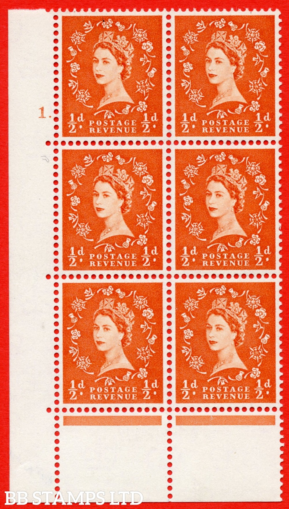 """SG. 570. S4. ½d Orange. A superb UNMOUNTED MINT """" cylinder 1 dot """" control block of 6 with perf type C E/P. CREAM paper."""