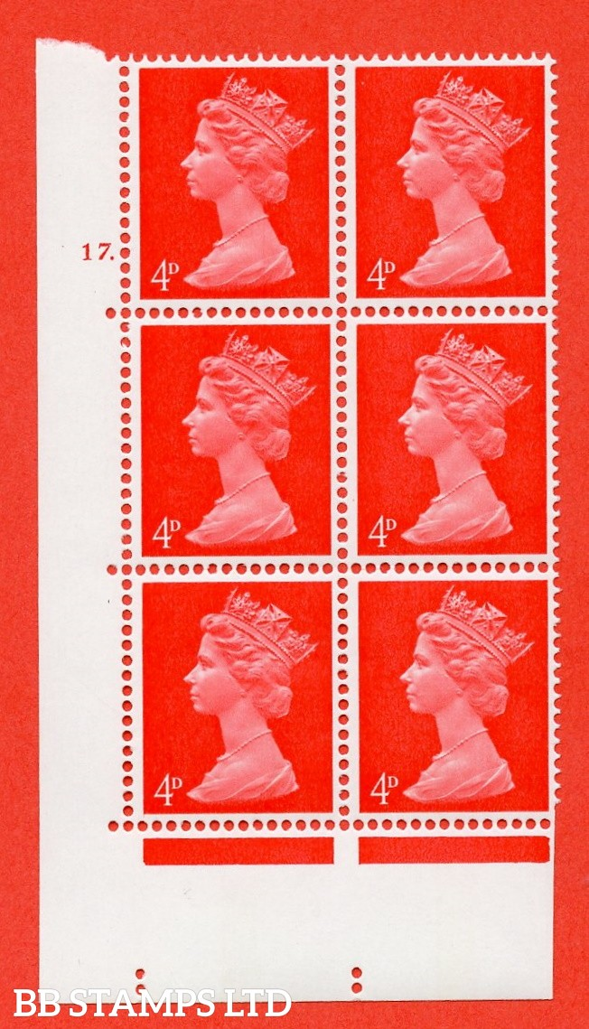 "SG. 733. U14. 4d bright vermilion  A superb UNMOUNTED MINT "" cylinder 17 dot "" control block of 6 with perf type A E/I. PVA gum. Head B."