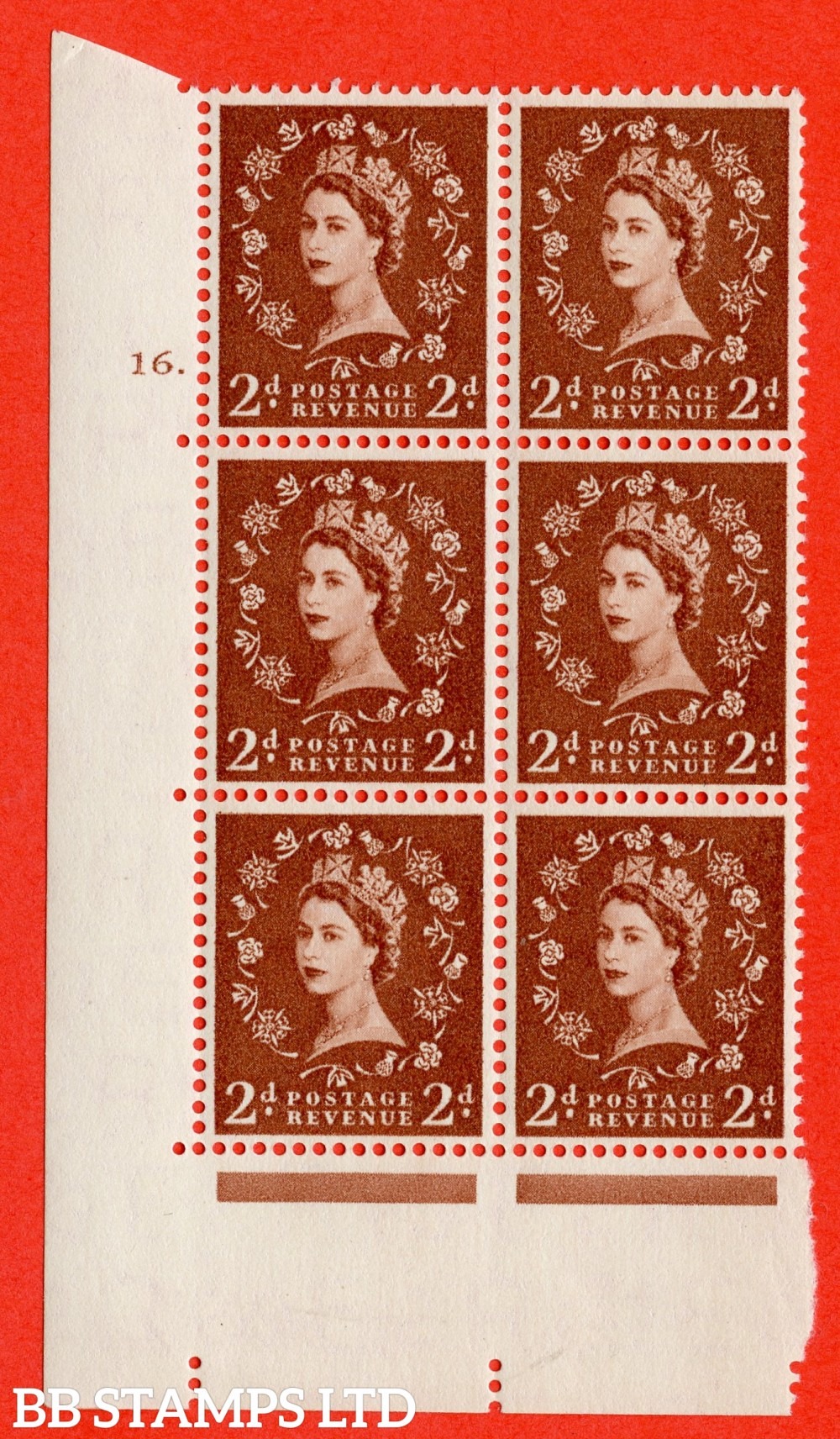 "SG. 543b. S38. 2d. Light Red-brown. A superb UNMOUNTED MINT "" cylinder 16 dot "" control block of 6 with perf type A E/I."