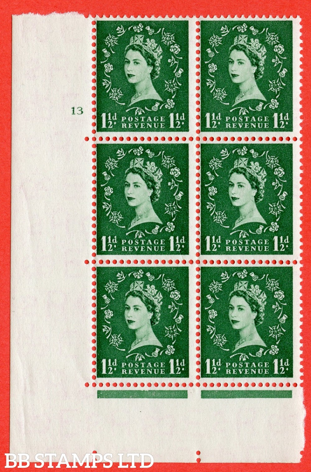 "SG. 542. S26. 1½d. Green. A fine lightly mounted mint "" cylinder 13 no dot "" control block of 6 with perf type A E/I"