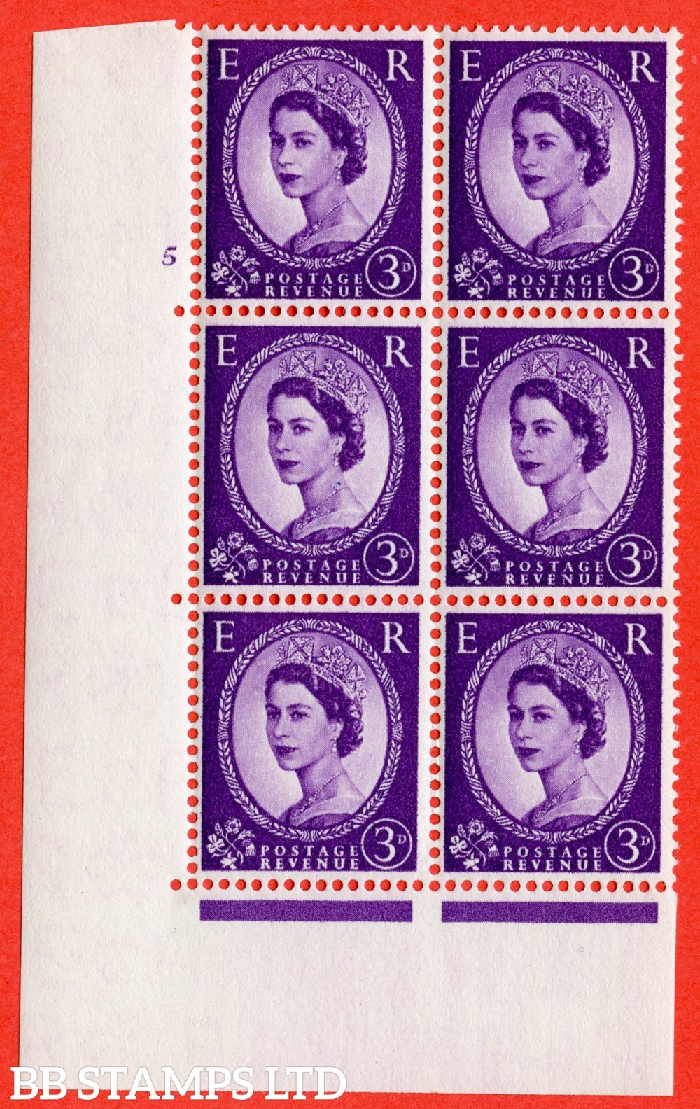 "SG. 545. S68. 3d. Deep - Lilac. A superb UNMOUNTED MINT "" cylinder 5 no dot "" control block of 6 with perf type A E/I."