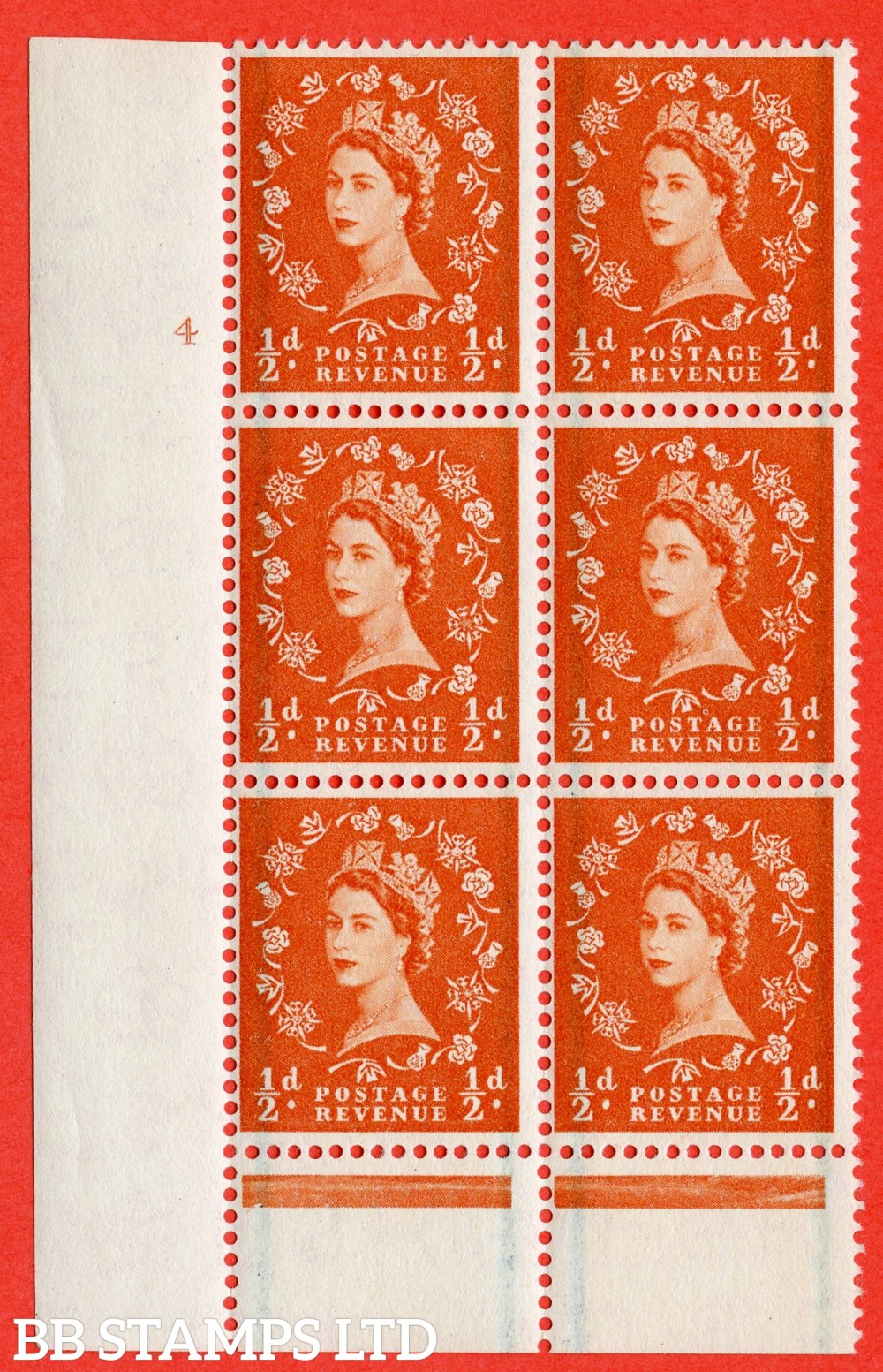 "SG. 561. S3. ½d Orange - Red. A fine lightly mounted mint "" cylinder 4 no dot "" control block of 6 with perf type B I/P."