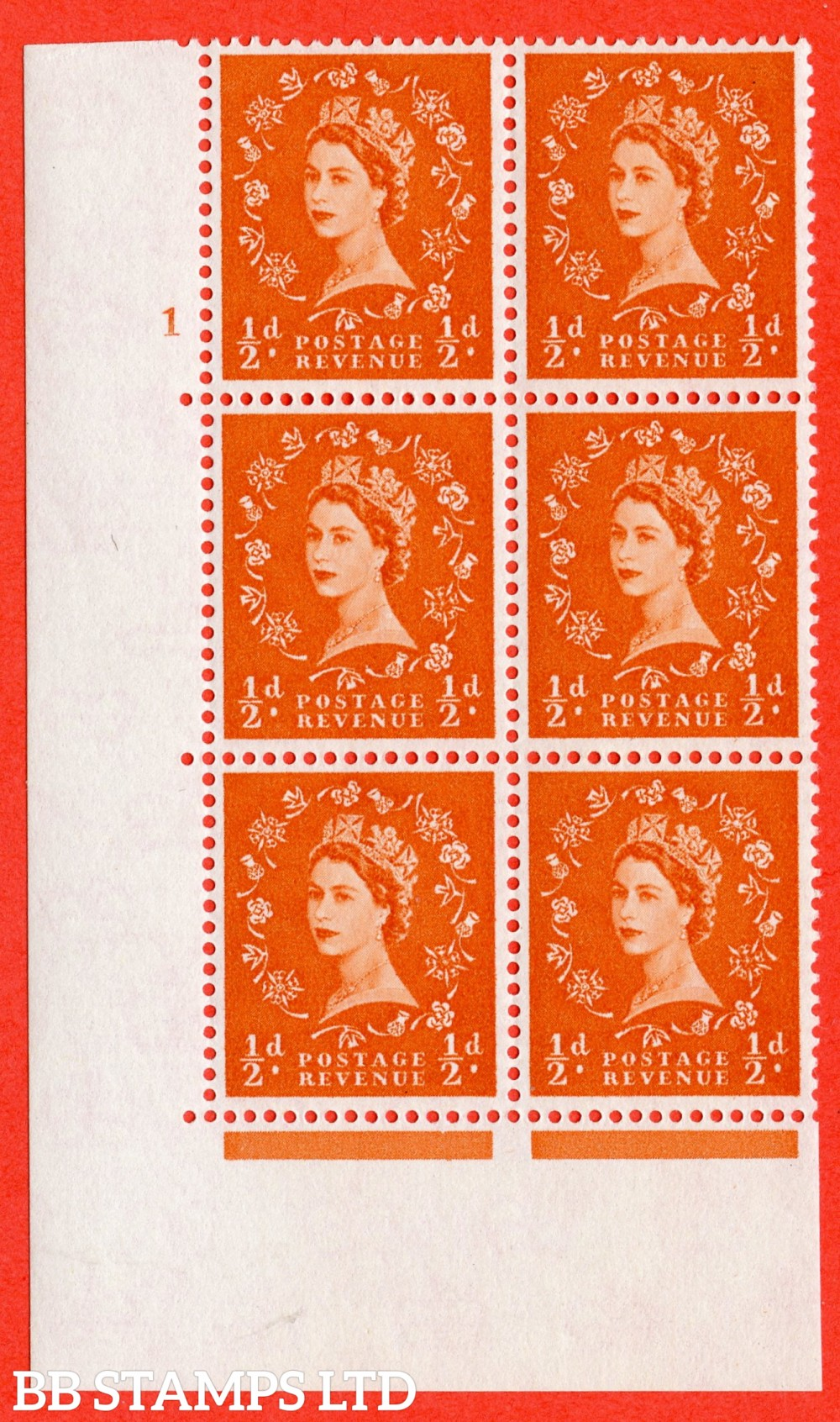 "SG. 570. S5. ½d Orange. A superb UNMOUNTED MINT "" cylinder 1 no dot "" control block of 6 with perf type A E/I. WHITE paper."