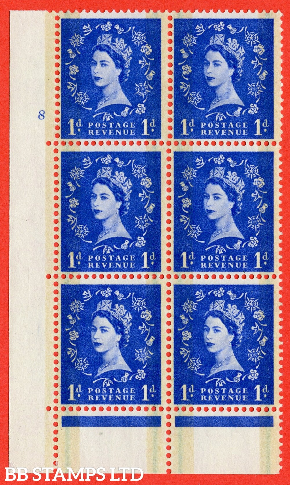 "SG. 600. S19. 1d Ultramarine. A fine lightly mounted mint "" cylinder 8 no dot "" control block of 6 with perf type C E/P."