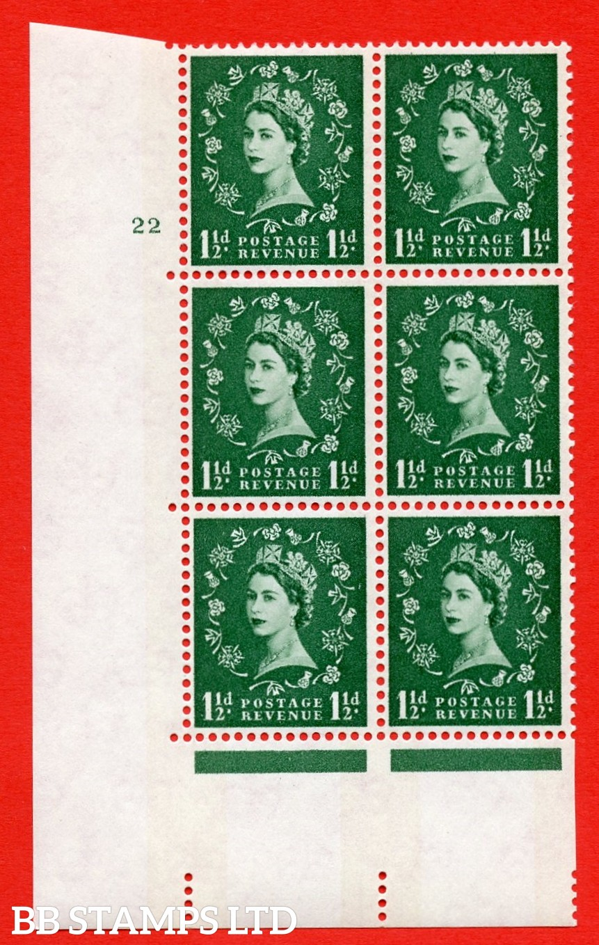 "SG.612. S34. 1½d  Green. A superb UNMOUNTED MINT "" cylinder 22 no dot "" control block of 6 with perf type A (E/I). Blue Phosphor White paper"