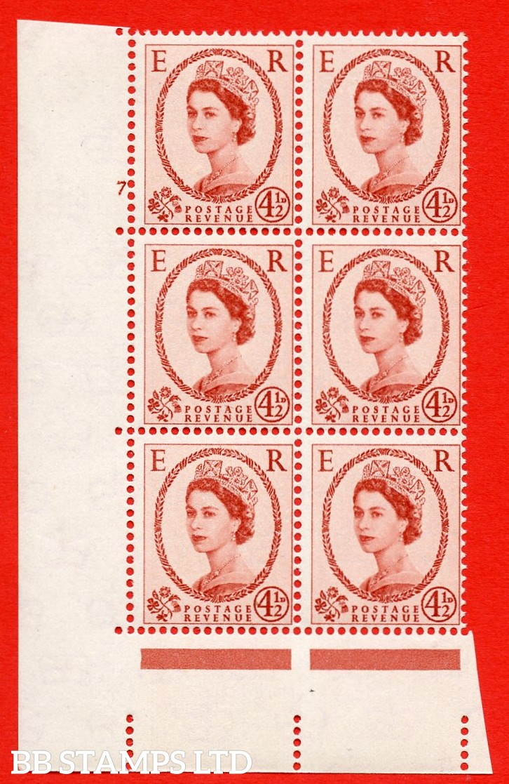 "SG S93. 4d½ chestnut  A superb UNMOUNTED MINT "" cylinder 7 no dot "" control block of 6 with perf type A (E/I)."