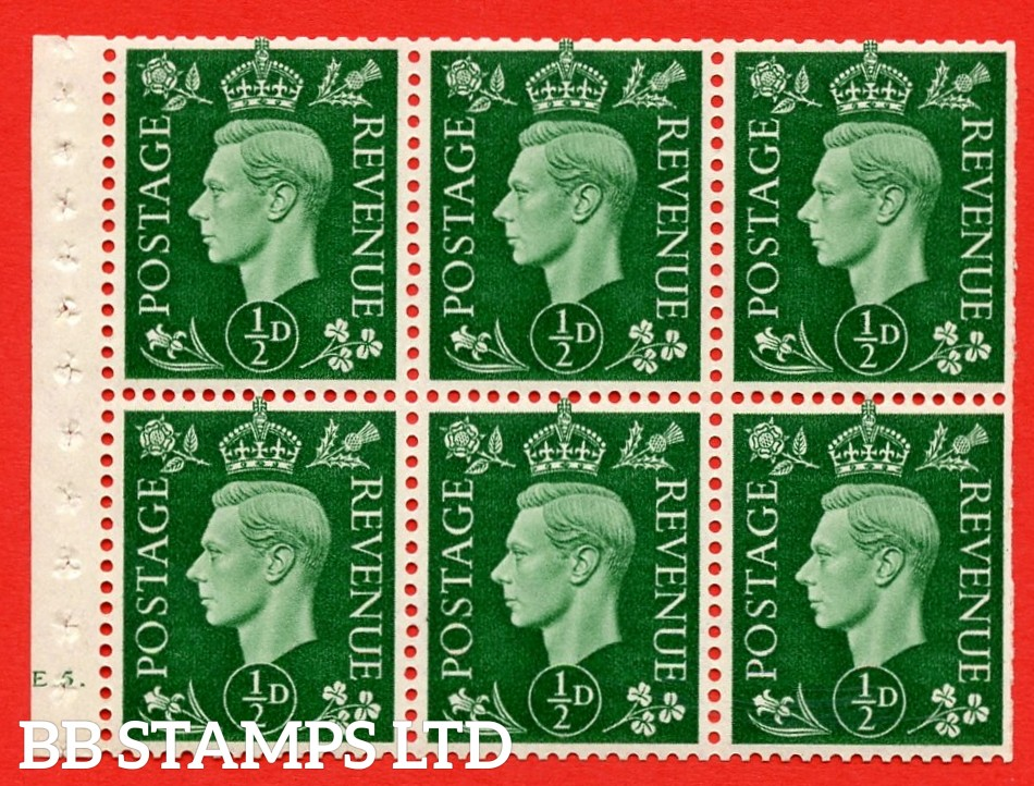 SG. QB1 Perf Type B4A(I). ½d Green x 6 Pane, UNMOUNTED MINT Watermark Upright. Cylinder Pane E5 dot ( SG. 462b ) Perf Type B4A(I). Trimmed Perfs.