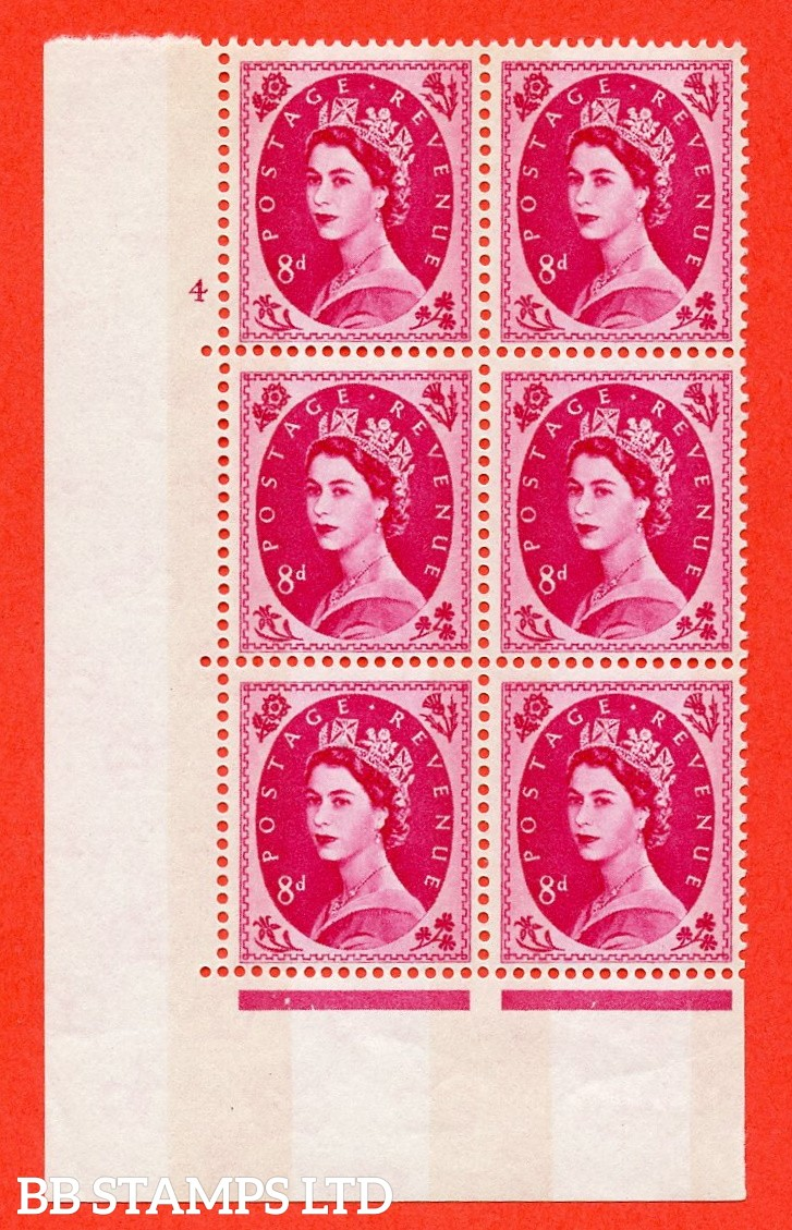 "SG.617b. S123. 8d Magenta. A fine mounted mint "" cylinder 4 no dot "" control block of 6 with perf type A (E/I). violet Phosphor 9½mm Band. Variety of white flaw on diadem."