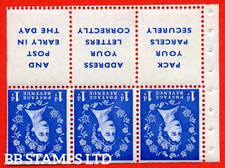 SG. 516Lawi. SB25a. 1d ultramarine. A fine UNMOUNTED MINT. WATERMARK INVERTED. Complete booklet pane of 6. Perf type (IS) with Trimmed PERFS.