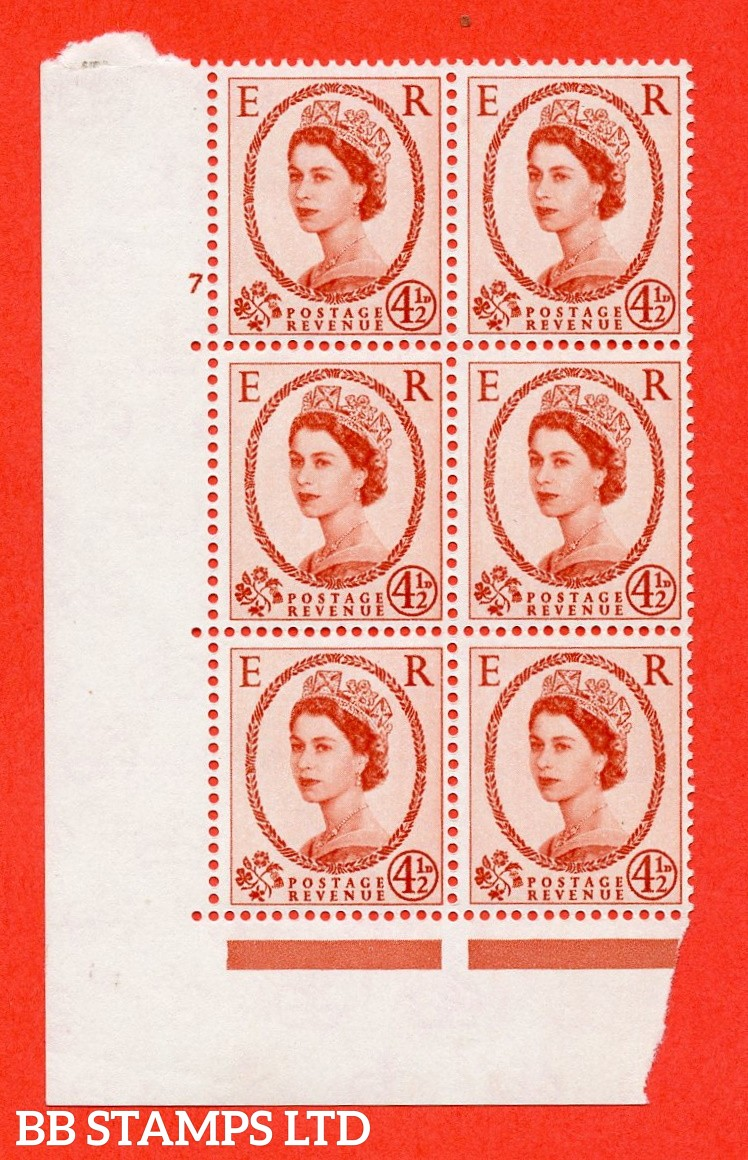 "SG. 577. S94. 4½d Chestnut. A superb UNMOUNTED MINT "" cylinder 7 no dot "" control block of 6 with perf type A E/I. WHITE paper."