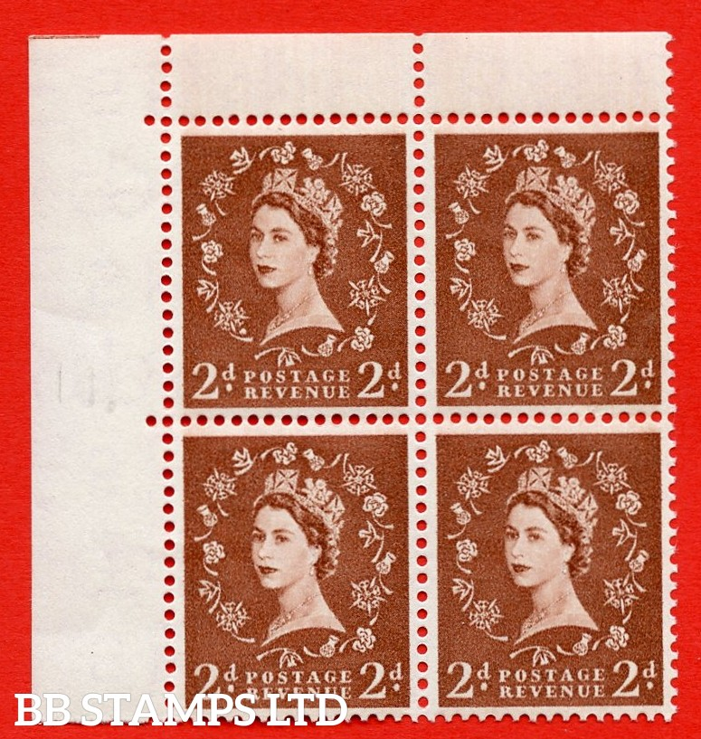 SG. 543b. S38r. 2d. Light Red-brown. A superb UNMOUNTED MINT example from cylinder 14 no dot. Corner marginal positional Block of 4. With a Dot over the rose stem ERROR R.1/1 variety.