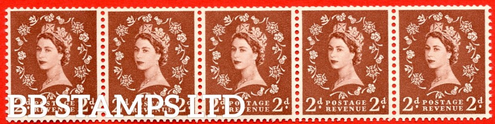 SG. 543bd. S38u. 2d. Light Red-brown. A superb UNMOUNTED MINT example. Coil strip of 5. WATERMARK sideways left. With a extended stem on daffodil. ERROR. Roll 9 variety.