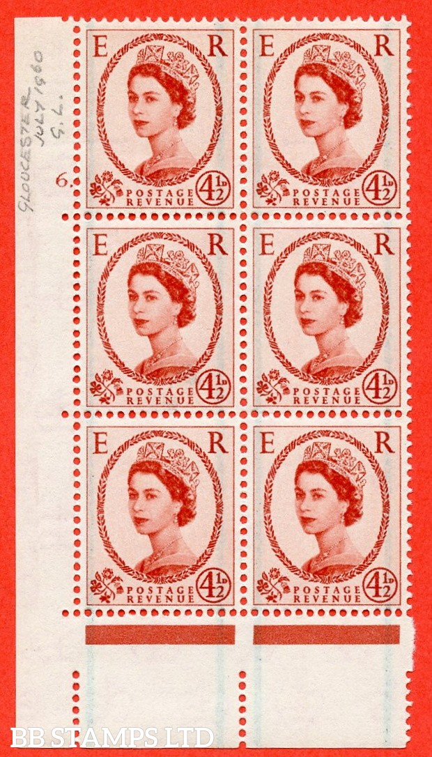 "SG. 594. S95. 4½d Chestnut. A superb UNMOUNTED MINT "" cylinder 6 dot "" control block of 6 with perf type A E/I."