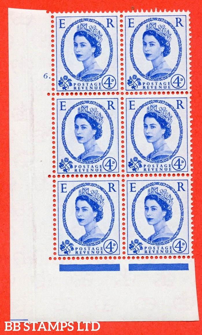 "SG S83. 4d ultramarine  A superb UNMOUNTED MINT "" cylinder 6 dot "" control block of 6 with perf type A (E/I)."