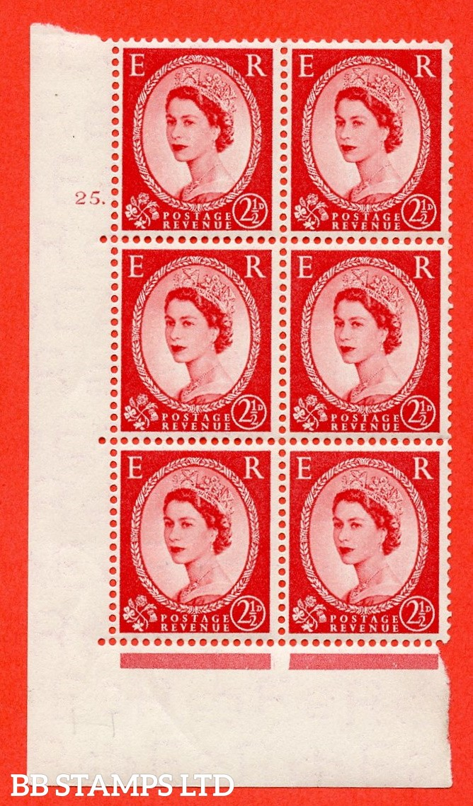 "SG. 519. S50. 2½d Carmine Red. A fine mounted mint "" cylinder 25 dot "" control block of 6 with perf type A E/I."
