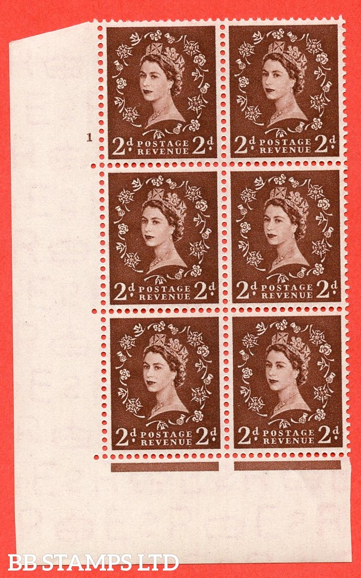 "SG. 518. S36. 2d Red-Brown. A superb UNMOUNTED MINT "" cylinder 1 no dot "" control block of 6 with perf type A E/I."