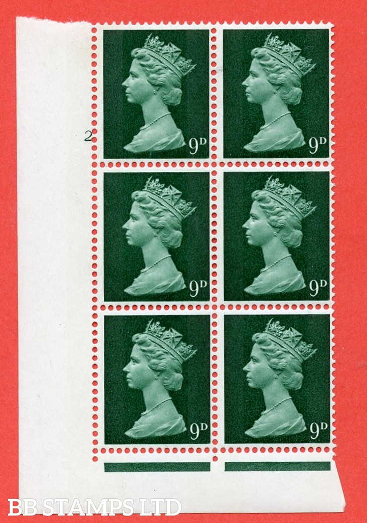 """SG. 740. U22. 9d myrtle green  A superb UNMOUNTED MINT """" cylinder 2 no dot """" control block of 6 with perf type FL (I/E). gum arabic. Head A."""