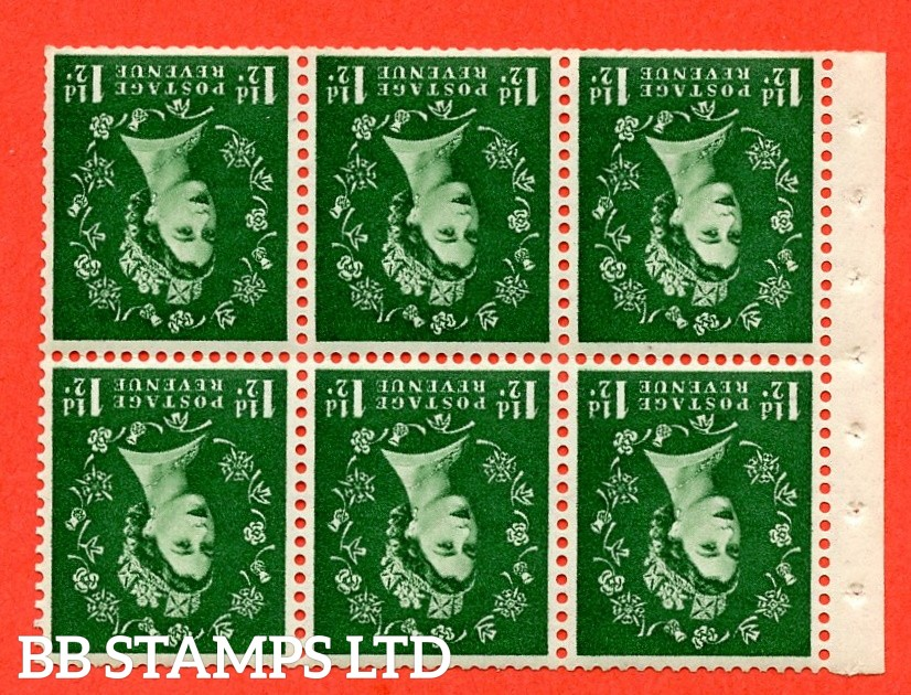 SG. 517Lwi. SB59a. 1½d green. A fine UNMOUNTED MINT. WATERMARK INVERTED. complete booklet pane of 6. Perf type (IS) with Trimmed perfs.