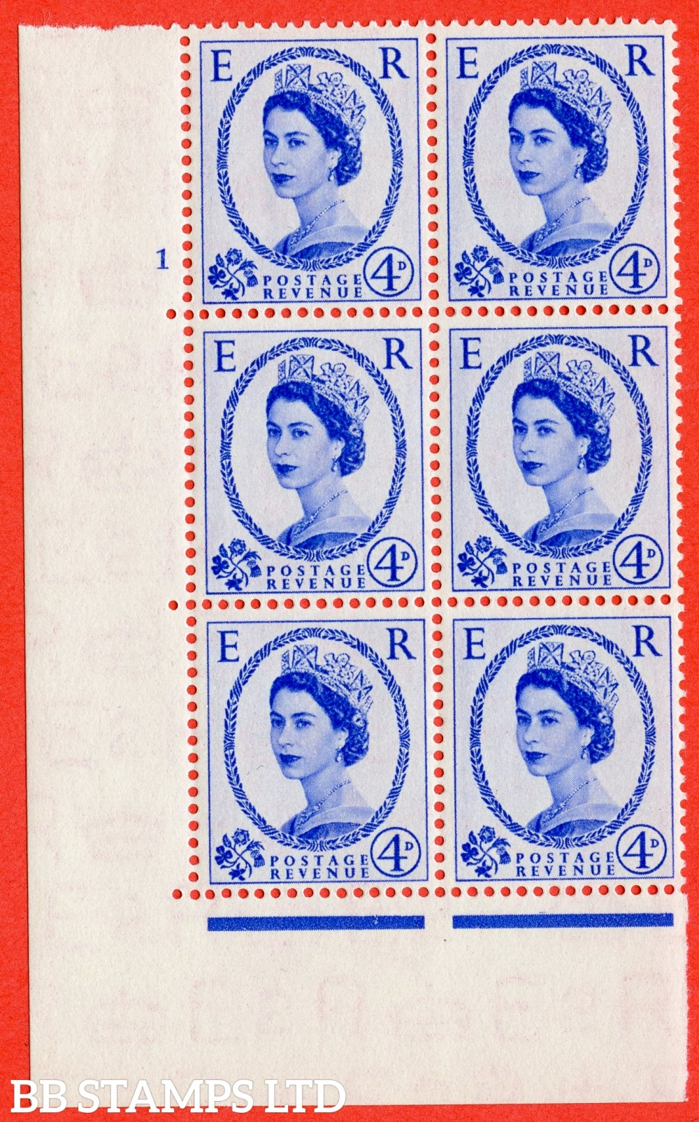 "SG. 521. S81. 4d Ultramarine. A superb UNMOUNTED MINT "" cylinder 1 no dot "" control block of 6 with perf type A E/I."