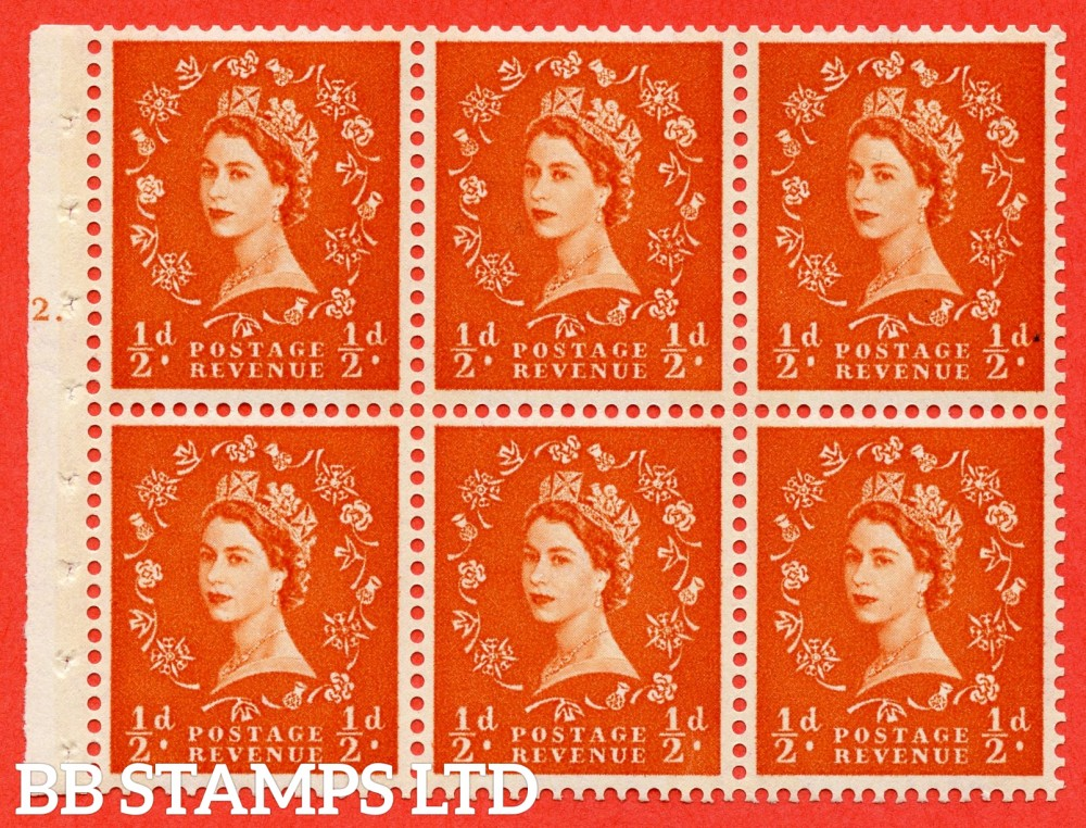 "SG. 610. SB16. ½d Orange Red. A fine mounted mint cylinder "" E12 T dot "" booklet pane of 6. Perf type (Iet) with GOOD PERFS. Rough edge. Cream Paper."