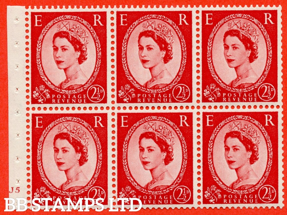 "SG. 519 b. SB80. 2½d carmine - red. A fine mounted mint cylinder "" J5 no dot "" booklet pane of 6. Perf type (I) with TRIMMED PERFS. Smooth edge."