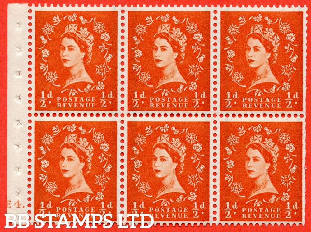 "SG. 587. SB14. ½d Orange Red. A fine UNMOUNTED MINT cylinder "" E4 dot "" booklet pane of 6. Perf type (Ieb) with TRIMMED PERFS. Smooth edge."