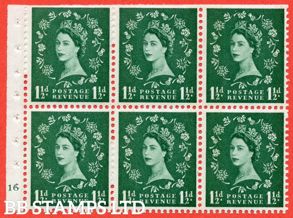"SG. 612. SB73. 1½d Green. A fine UNMOUNTED MINT cylinder "" G16 no dot "" booklet pane of 6. Perf type (I) with TRIMMED PERFS. Smooth edge. White Paper."