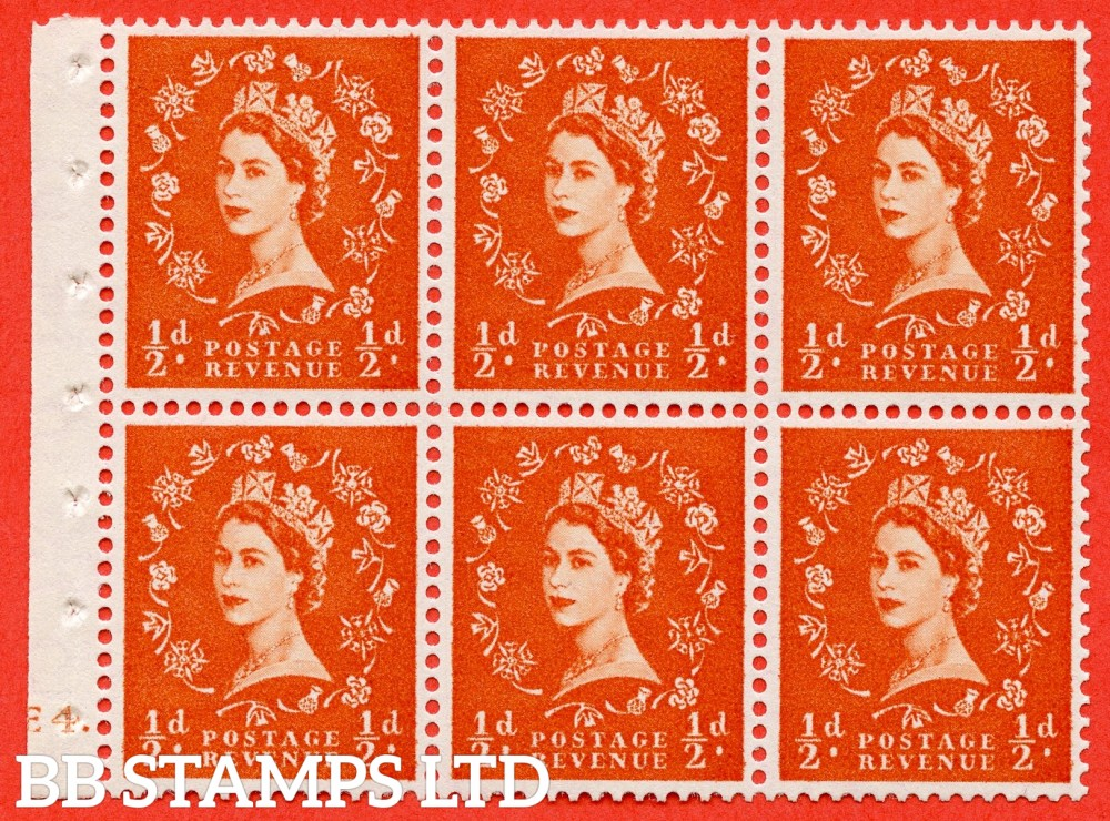 "SG. 540. SB4. ½d orange - red. A fine UNMOUNTED MINT cylinder "" E4 dot "" booklet pane of 6. Perf type (Iet) with GOOD PERFS. Smooth edge."