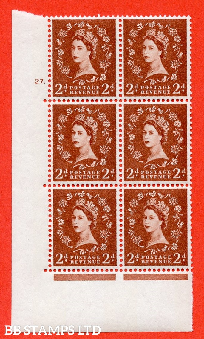 "SG.613a. S49. 2d Light Red Brown. A superb UNMOUNTED MINT "" cylinder 27 dot "" control block of 6 with perf type A (E/I). violet Phosphor 9½mm Band."