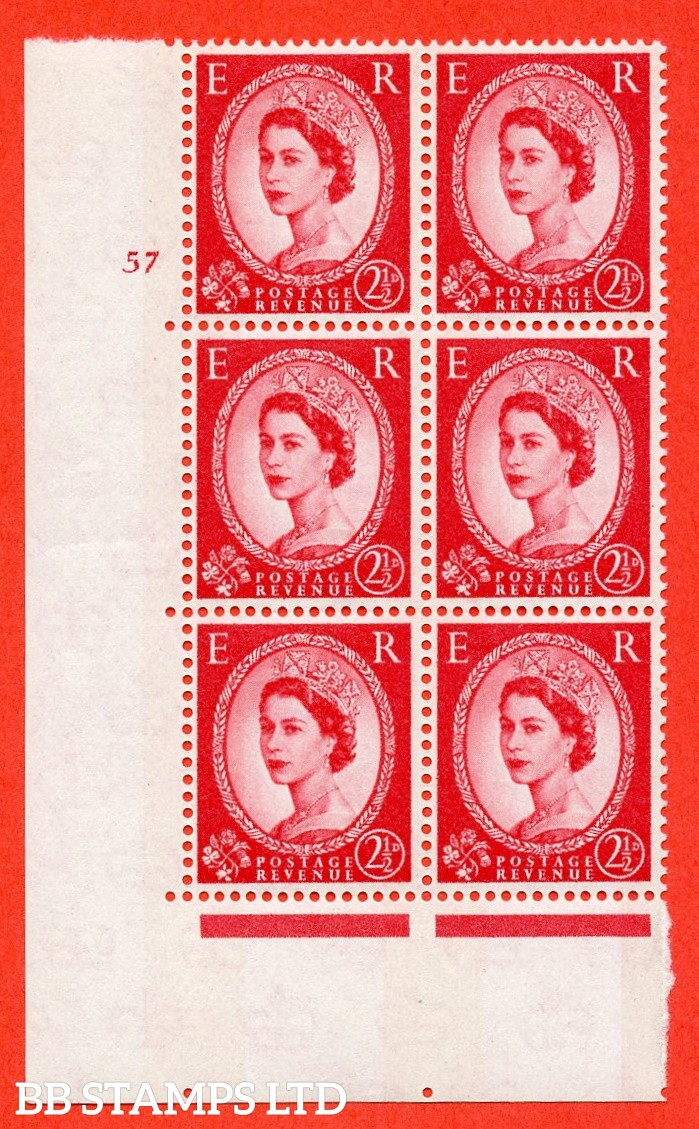 "SG.614. S66. 2½d Carmine red. 2B Photo. A fine mounted mint "" cylinder 57 no dot "" control block of 6 with perf type A (E/I). Blue Phosphor White paper"