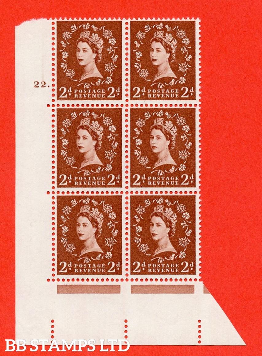 "SG. 573. S40. 2d light red brown . A superb UNMOUNTED MINT "" cylinder 22 dot "" control block of 6 with perf type A E/I. CREAM paper."