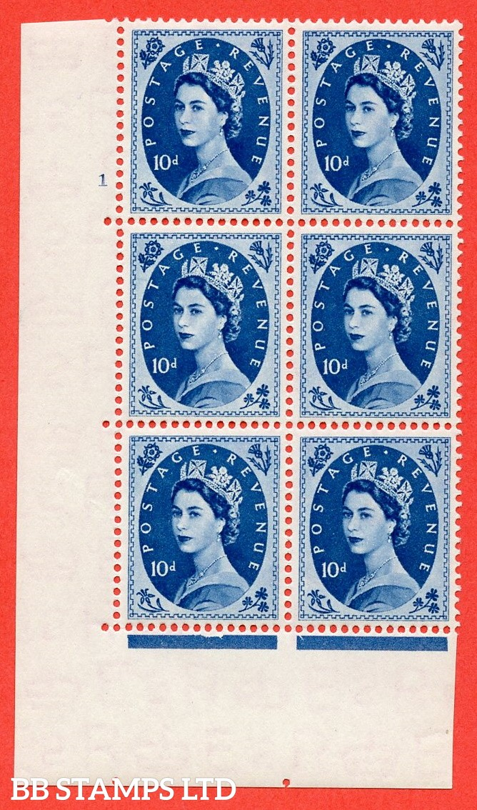 "SG. 527. S129. 10d Prussian blue. A superb UNMOUNTED MINT "" cylinder 1 no dot "" control block of 6 with perf type A E/I."