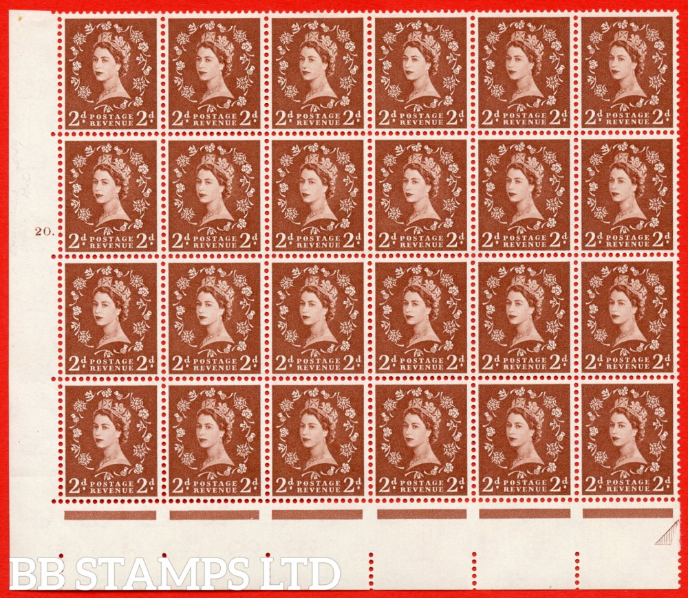 SG. 573. S40d. 2d light red brown . A superb UNMOUNTED MINT example. Bolck of 24 from cylinder 20 dot. Cream paper. With a Tadpole retouch ERROR. R.17/6