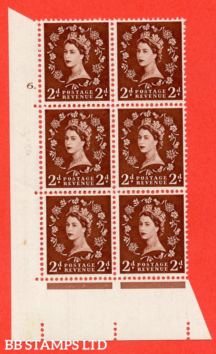"SG. 543. S37. 2d. Red-brown. A superb UNMOUNTED MINT "" cylinder 6 dot "" control block of 6 with perf type A E/I."