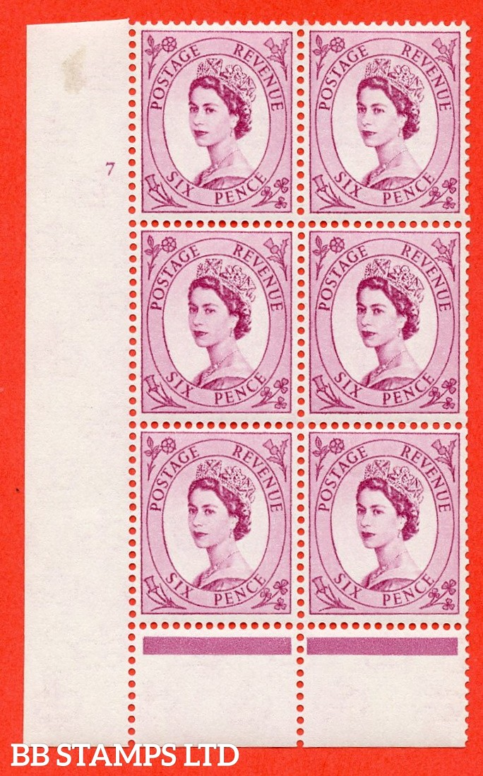 "SG. 579 S107. 6d Deep claret  A superb UNMOUNTED MINT "" cylinder 7 no dot "" control block of 6 with perf type A (E/I)."