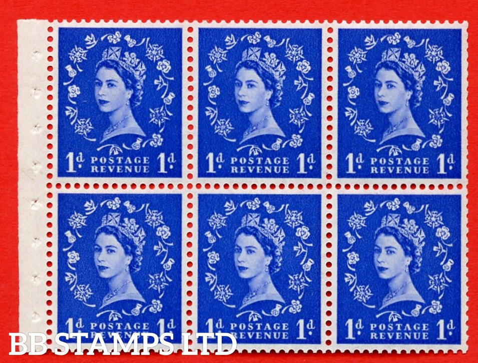 SG. 516L. SB20. 1d ultramarine. A fine MOUNTED MINT example. Complete Booklet pane of 6. Perf Type IR. Good Perfs.