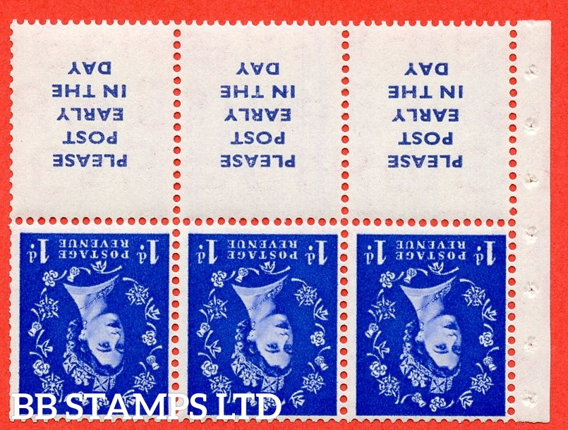 SG. 516Lawi. SB24Aa. 1d ultramarine Modified setting. A fine UNMOUNTED MINT. WATERMARK INVERTED. Complete booklet pane of 6. Perf type (IS) with Good PERFS.