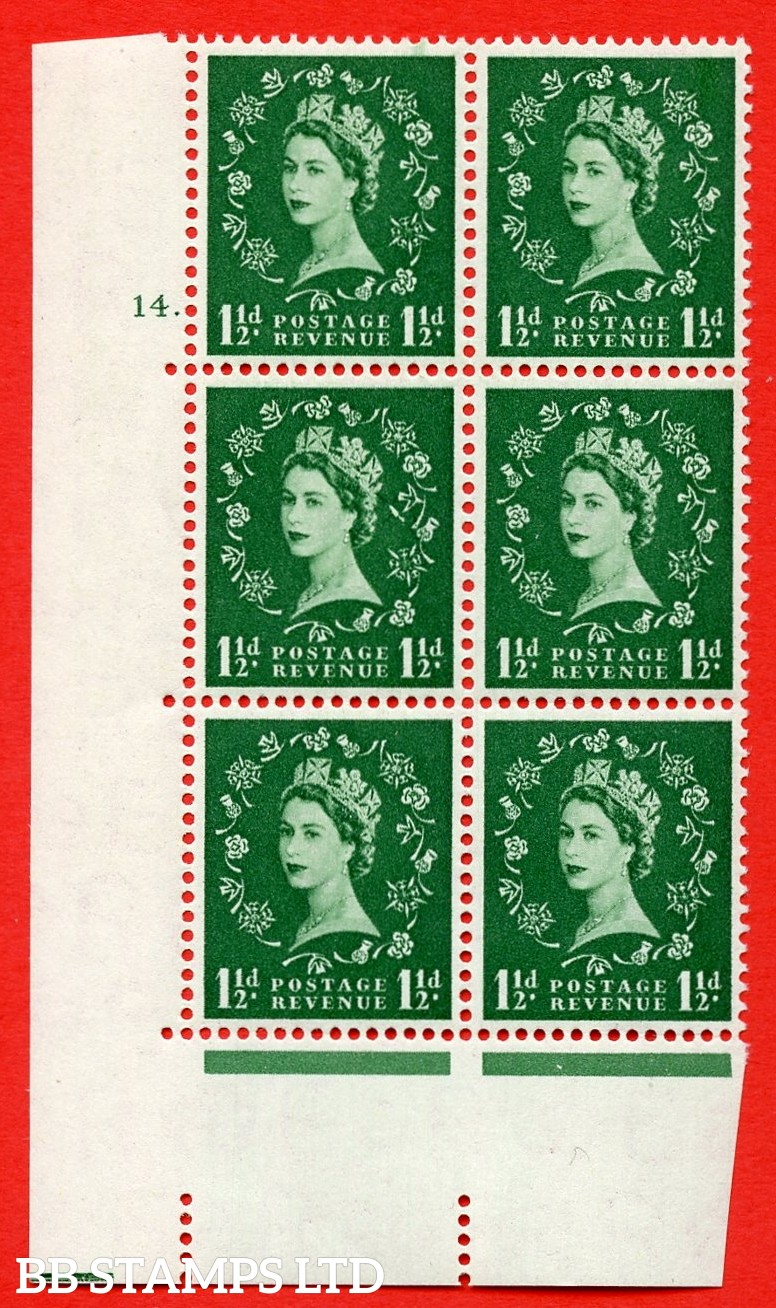 SG. 542. S26g. 1½d. Green. A superb UNMOUNTED MINT example from cylinder block 14 dot with a Butterfly flaw ERROR R.19/1 variety.