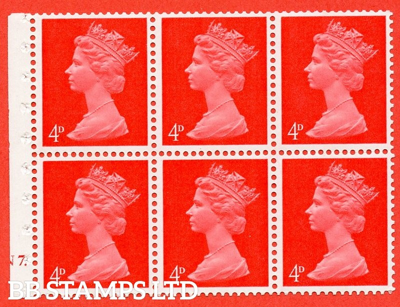 UB14 B 4d Centre Band. UNMOUNTED MINT Complete Pre decimal machin Cylinder Pane of 6 N7 Dot . (UB14B) Perf Type Iet. Good Perfs.