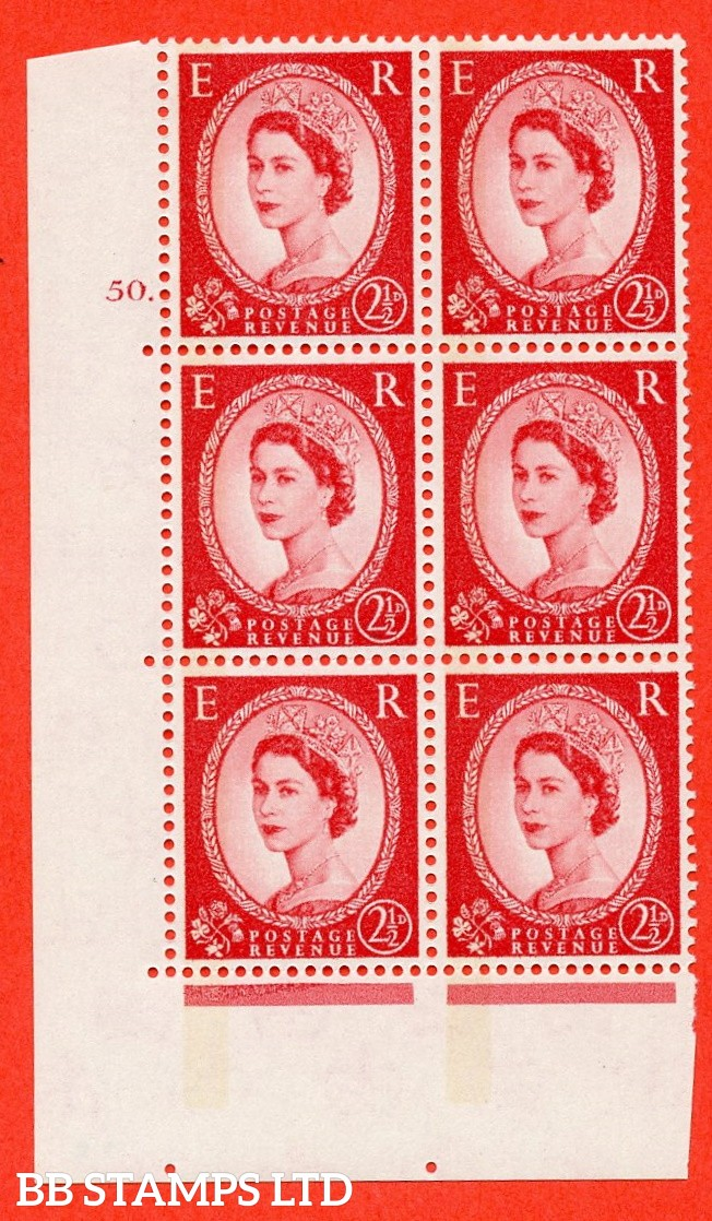 "SG.614. S62. 2½d Carmine red. A fine mounted mint "" cylinder 50 dot "" control block of 6 with perf type A (E/I). Blue Phosphor Cream paper."