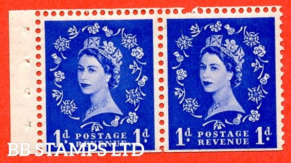 SG. 516. SB22. 1d Ultramarine. A fine UNMOUNTED MINT. Complete booklet pane of 2 with perf type I. Trimmed perfs.