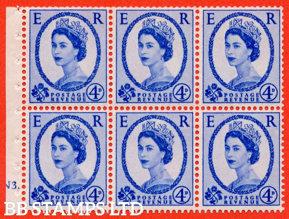 "SG. 576a. SB105. 4d Deep Ultramarine. A fine mounted mint cylinder "" N3 dot "" booklet pane of 6. Perf type (Ieb) with TRIMMED PERFS. Smooth edge."